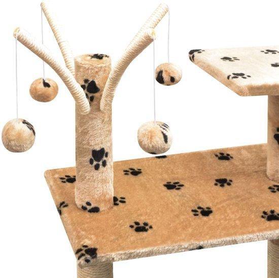 vidaXL Kattenkrabpaal met sisal krabpalen 125 cm pootafdrukken beige