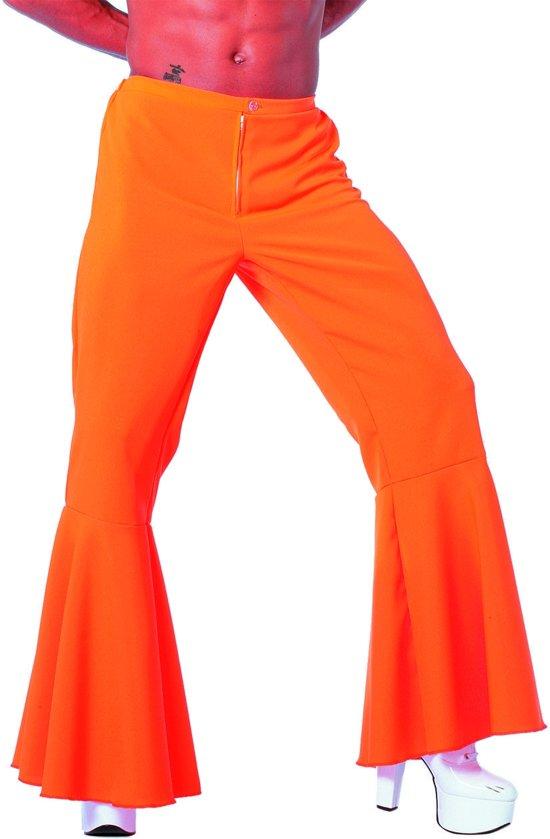 Hippie broek neon oranje voor heer