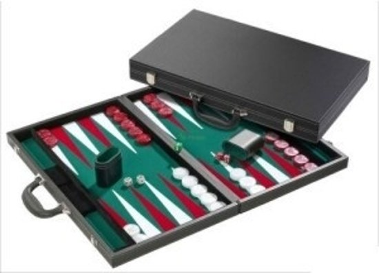 Hot sports Backgammon koffer xl de luxe zwart 53x64