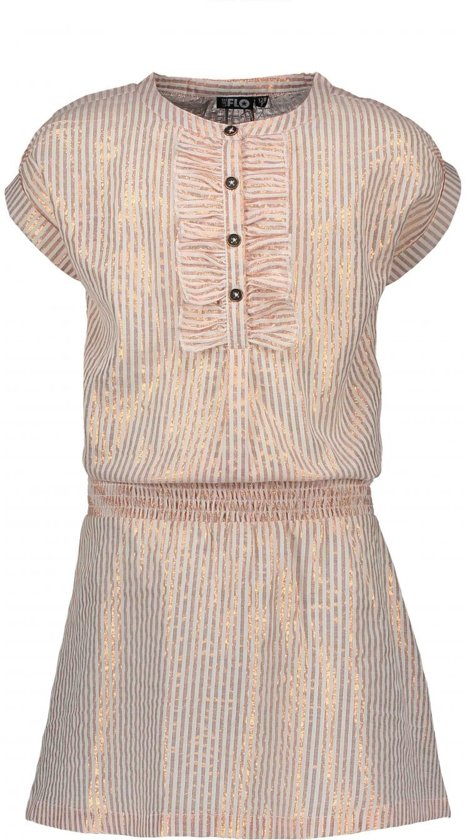 Like Flo Meisjes jurken Like Flo Flo girls woven lurex stripe dress roze 146