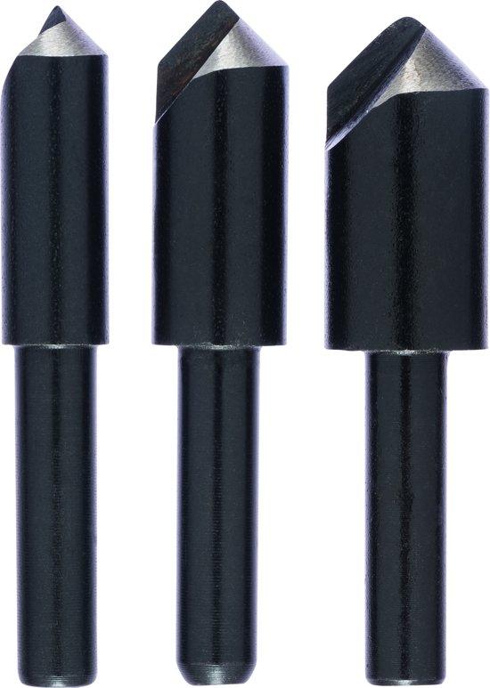 Bosch - 3-delige conische verzinkboor-set met 1 boorplaatje 8,0; 10,0; 12,0 mm