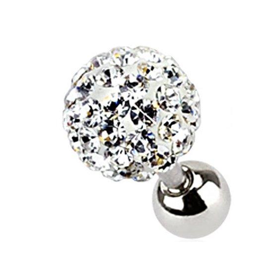 Tragus piercing Ferido kristal wit 3 mm ©LMPiercings