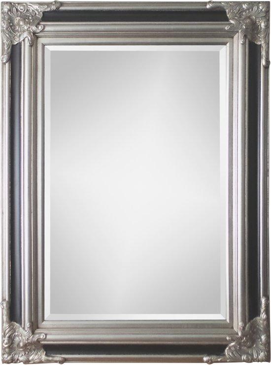 Spiegel - Paola- zwart / zilver - buitenmaten breed 90 cm x hoog 120 cm.