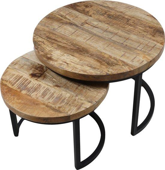 Vlojo rond - set van twee tafeltjes - salontafel - bijzettafel - industrieel - hout - metaal