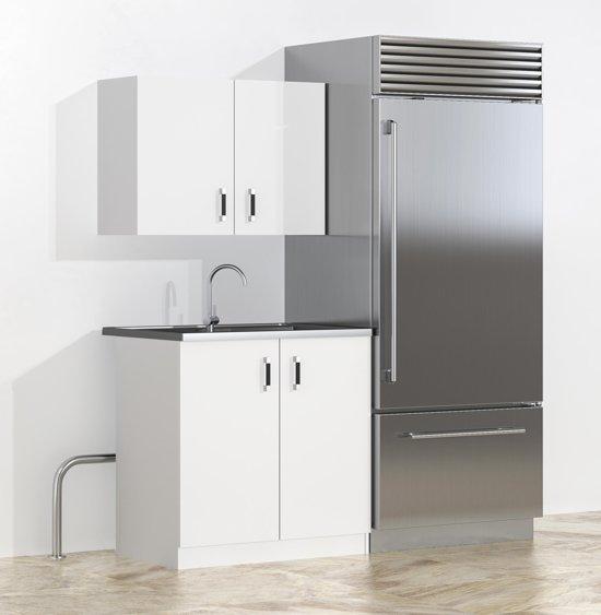 Keukenblok 80 cm wit - Inclusief Keukenkastjes Spoelbak & Sifon