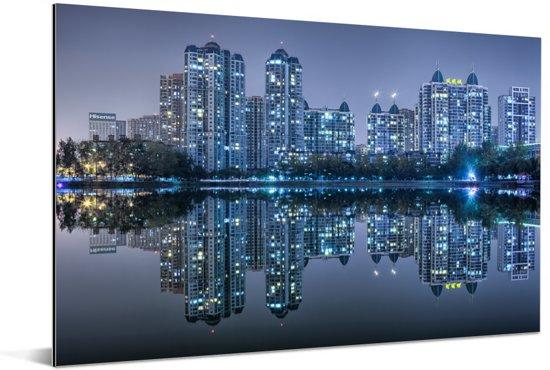 De skyline van Wuhan Aluminium 120x80 cm - Foto print op Aluminium (metaal wanddecoratie)
