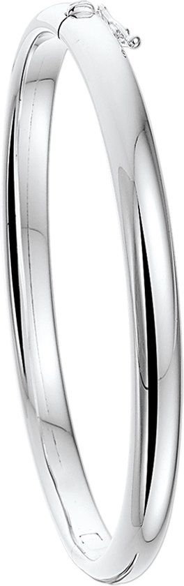 The Jewelry Collection Bangle Scharnier Bolle Buis - 6 X 60 mm - Zilver