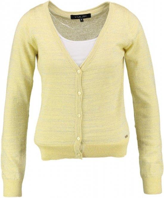 Vila joy geel vestje met zilverdraad - Maat XL