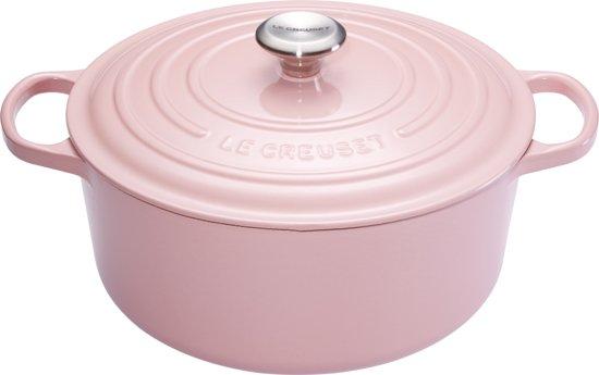 """Le Creuset Signature Braadpan - 4,2 liter - 24 cm - Chiffon Pink"""