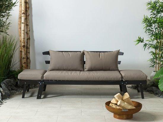 Lanterfant® Tuinbank Liv - Chaise Longue - Ligbed - Zwart - Taupe