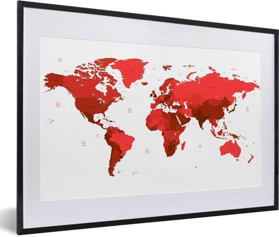 Foto in lijst - Rode wereldkaart op een witte achtergrond fotolijst zwart met witte passe-partout 60x40 cm - Poster in lijst (Wanddecoratie woonkamer / slaapkamer)