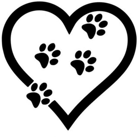 bol autosticker hart met hondenpootjes
