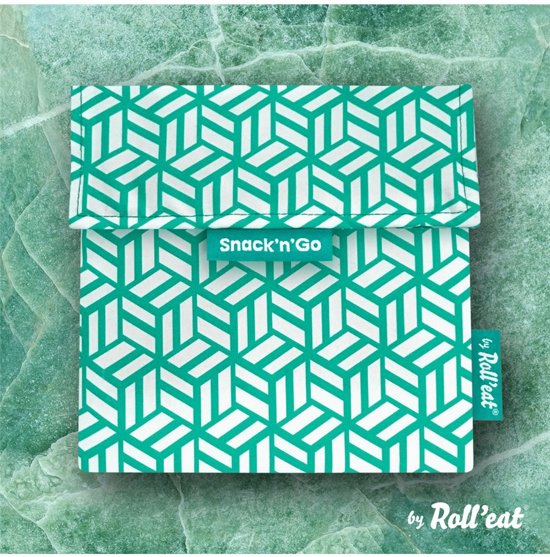 Roll'Eat Snack'n'Go Herbruikbaar Boterhamzakje - Tiles Green