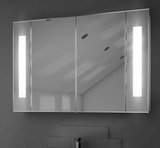 Voordelige aluminium spiegelkast met verlichting for Spiegelkast 60 cm breed