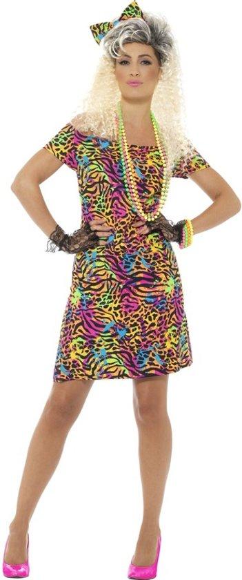 Vaak bol.com | Jaren 80 jurkje neon dierenprint voor dames - disco  @EF83