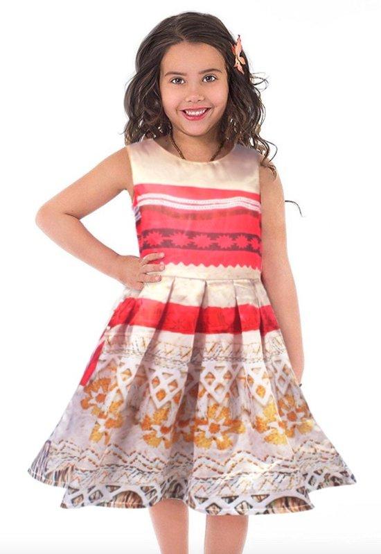 Vaiana jurk Deluxe maat 122-128 Moana Prinsessen jurk (140) + GRATIS haarbloem verkleedkleding