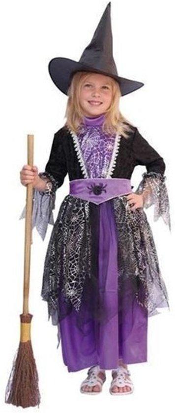 Halloween Heksen kostuum zwart/paars kinderen 116