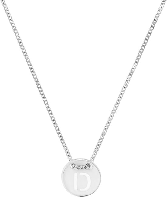 The Fashion Jewelry Collection Ketting Letter D 1,3 mm 41 + 4 cm - Zilver Gerhodineerd