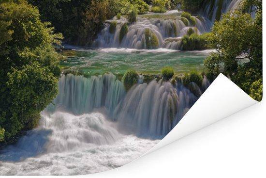 Woeste watervallen in de rivieren in het Nationaal park Krka in Kroatië Poster 120x80 cm - Foto print op Poster (wanddecoratie woonkamer / slaapkamer)