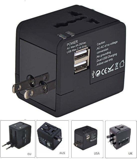 CAMPINGWISE ® wereldstekker met dubbele USB aansluiting voor alle landen in luxe mat zwarte uitvoering