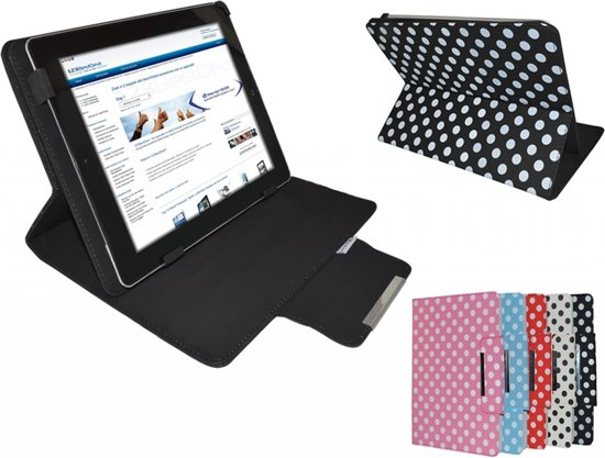 7 inch XL Diamond Class Polkadot Hoes met Multi-stand, blauw , merk i12Cover in Witten