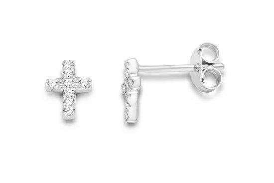 Majestine 9 Karaat Oorknoppen Witgoudkleurig (375) Kruis met Diamant 0.048ct