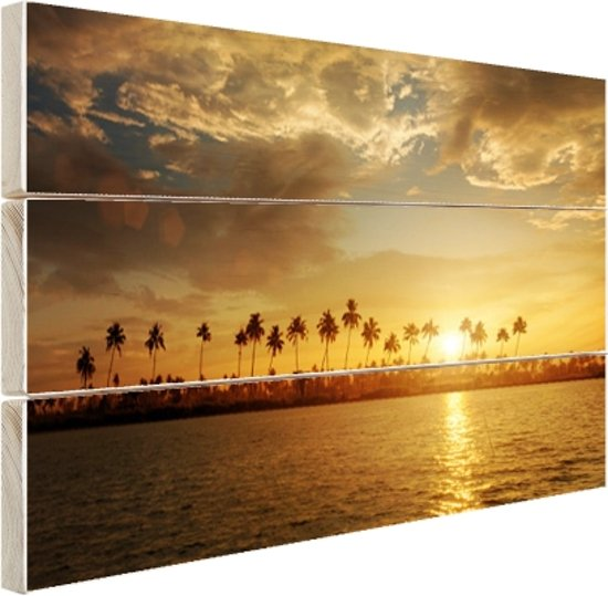 Palmbomen bij zonsondergang Hout 30x20 cm - Foto print op Hout (Wanddecoratie)