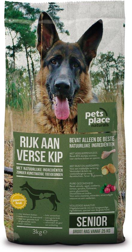 Pets Place Naturals Senior Large Breed - Hondenvoer - Kip - 3 kg