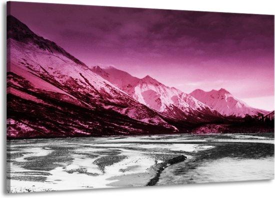 Canvas schilderij Bergen | Roze, Grijs, Wit | 140x90cm 1Luik