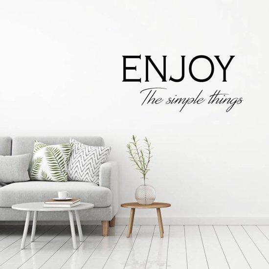 Muursticker Enjoy The Simple Things -  Donkergrijs -  120 x 54 cm  - Muursticker4Sale