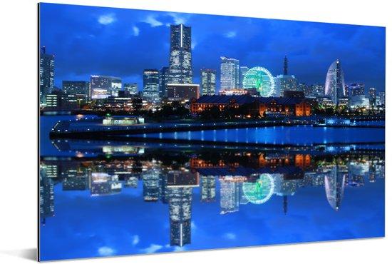 Blauw stadsgezicht van de Japanse stad Yokohama Aluminium 120x80 cm - Foto print op Aluminium (metaal wanddecoratie)