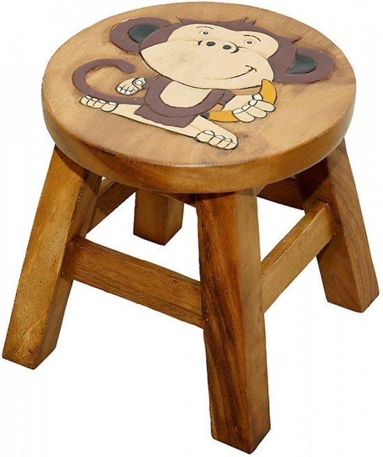 Kinderkruk | 'aapje' | met banaan | Dieren | Hout | Kruk voor kinderen | Handgemaakt | Uniek | 25 cm hoog