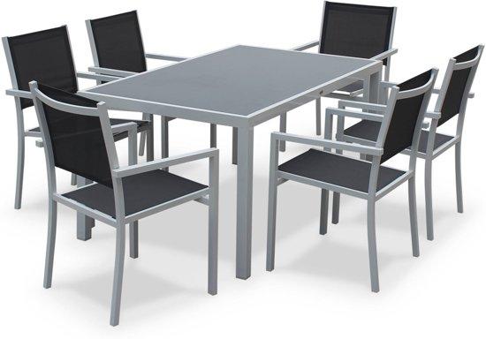 Bol.com tuintafel set van 1 tafel en 6 stoelen van aluminium en