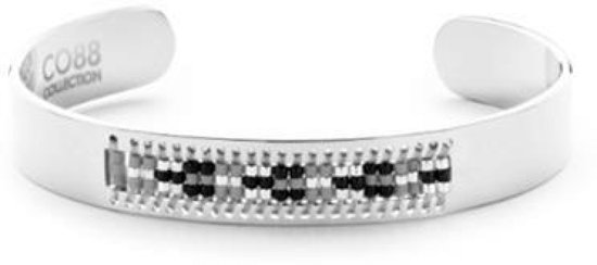CO88 Collection 8CB-90130 - Stalen open bangle met Miyuki beads - one-size zilverkleurig