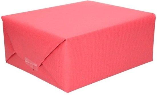 3x Inpakpapier/cadeaupapier rood kraftpapier 200 x 70 cm rollen - Kadopapier unikleur