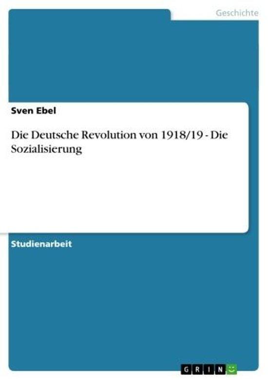 Die Deutsche Revolution von 1918/19 - Die Sozialisierung
