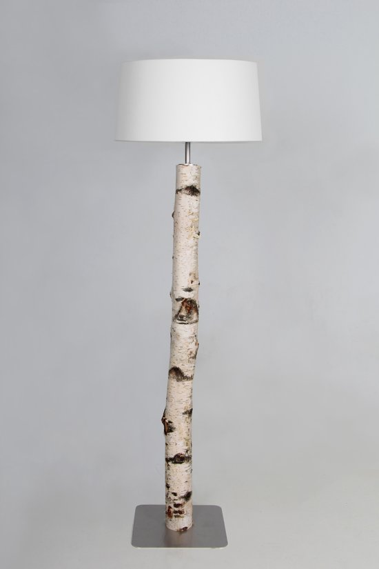 Witte Staande Lamp.Staande Lamp Berken Stam 120 Cm Met Witte Kap
