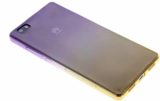 Bicolor Violet / Jaune Etui En Silicone Tpu Transparent Pour Huawei Lite P8 mF188m