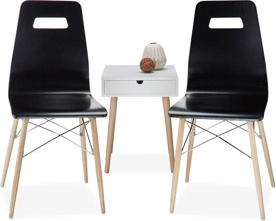 Eetkamer Design Stoelen.Relaxdays Design Stoel 2 Stuks Eetkamerstoel Moderne Eetkamer Stoelen Hout Zwart