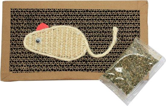 Krabplank / krabmat voor katten - karton 22x12 cm - inclusief kattenkruid en muis