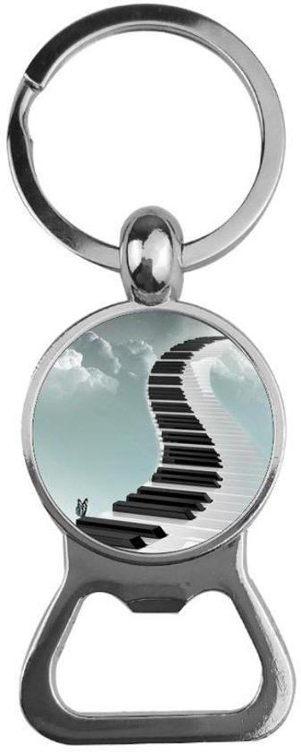 Sleutelhanger / Bieropener Zilver Glas - Piano