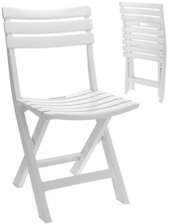 Witte klapstoel kunststof 89 x 42 x 10 cm for Witte kunstof eetkamerstoelen