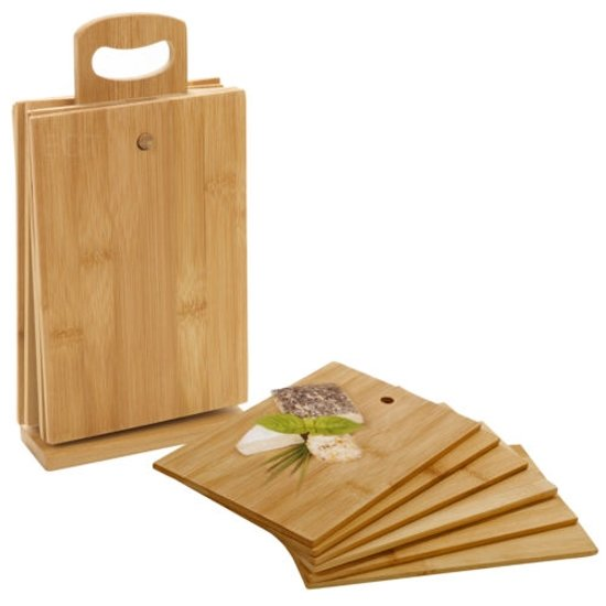 7-Delige Snijplankenset In Houder - Bamboe Hout - Ontbijtplankje / Serveerplank