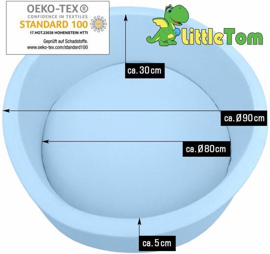 LittleTom Knuffelig Ballenbak met 350 Babyballen – Set vanaf 0 Jaar – 90 x 30 cm – Ballenbad in Lichtblauw – Ø 5,5 cm Ballen – Multicolor Mix