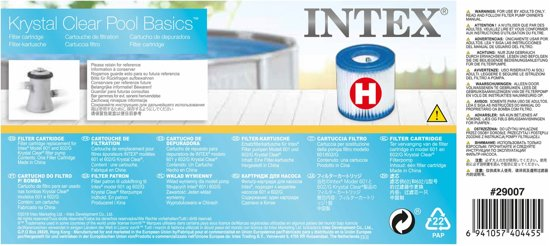 Intex Filtercartridge H (voor 28602GS) - Zwembad Filter