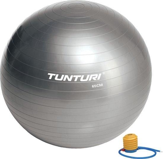 Tunturi Fitnessbal - Gymball - Swiss ball - Ø 65 cm - Inclusief pomp - Zilver
