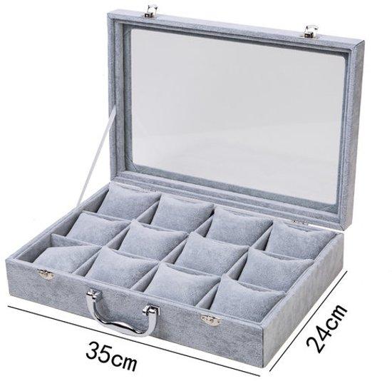 Display koffer voor armbanden / horloges grijs fluweel  © Pippashop