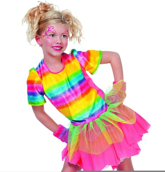 Punk & Rock Kostuum   Modanna Rainbow Girl   Meisje   Maat 164   Carnaval kostuum   Verkleedkleding