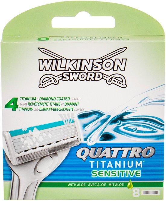 Wilkinson Quattro Titanium Sensitive Scheermesjes - 8 mesjes