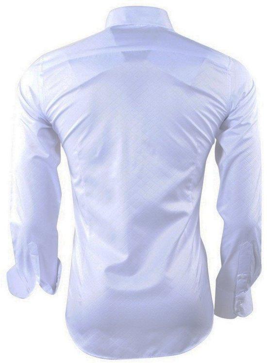 Overhemd Strijkvrij Slim Fit.Montazinni Kreuk Heren Strijkvrij Slim Fit Wit En Geruit Overhemd Qvuvr6